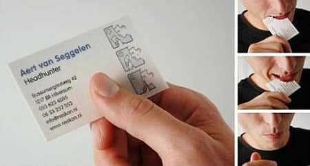 Edible business card for a head hunter with instruction to 'read it then eat it'.