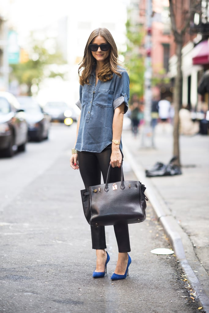 Does Olivia Palermo ever get it wrong? The style setter outfitted a tomboy-style denim topper with slick leather bottoms and bright heels. Source: Adam Katz Sinding