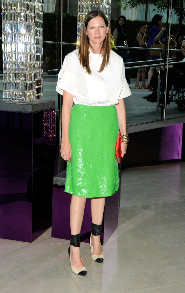 Lyons often picks a single bold piece, like this lime-green sequin skirt from the 2011 CFDA Awards.