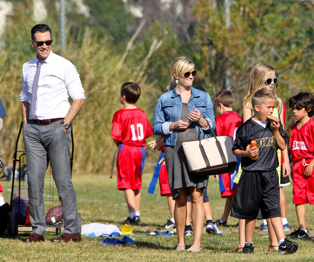 Jim Toth, Reese Witherspoon, and Ava Phillippe congratulated Deacon Phillippe after his football game in LA.