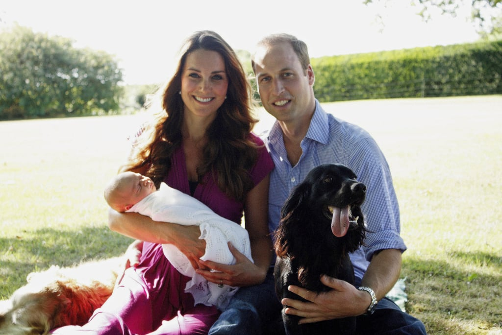 Kate, William, Prince George, and their dog Lupo all posed for George's first official portrait in Kate's family home in August 2013.