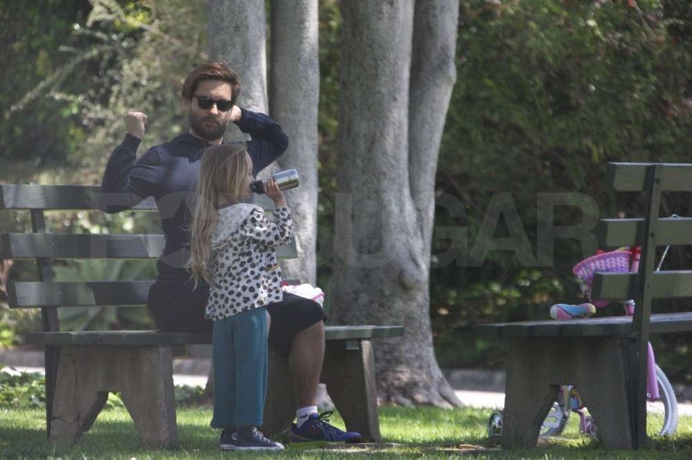 Tobey Maguire and Ruby Maguire spent a fun Sunday in the park.