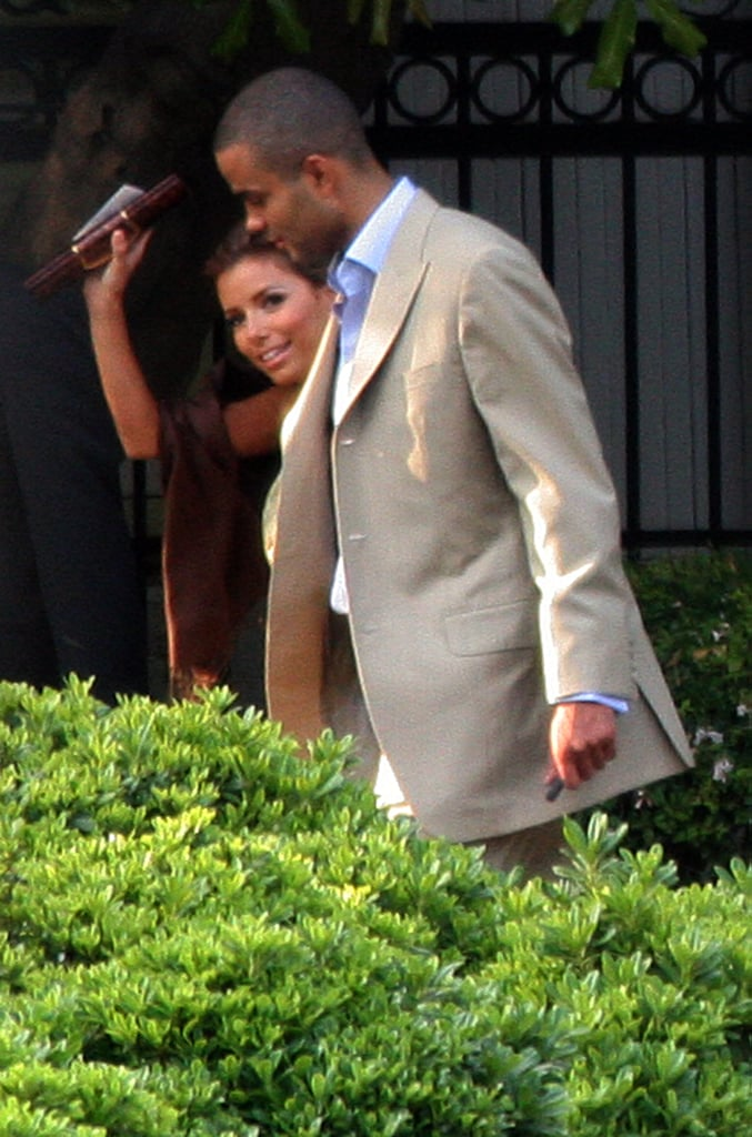 Eva Longoria waved as she and Tony Parker made their way to Marcia Cross's wedding in LA in June 2006.