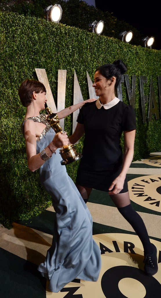 Anne Hathaway and Sarah Silverman shared a good laugh.