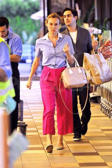 Diane Kruger rocked high-waisted hot pink pants.