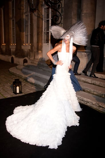 The Weight of Anna Dello Russo's Gareth Pugh Masquerade Ball Headpiece Gave Her a Headache