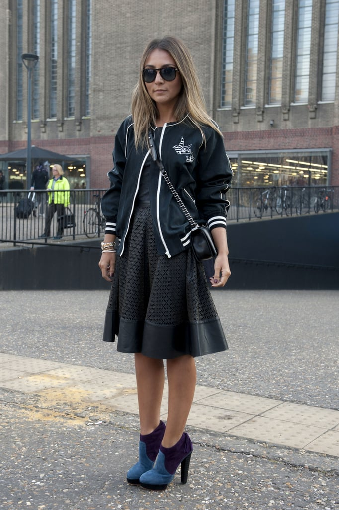 A slick varsity jacket updated a sweet LBD with a sporty kick.