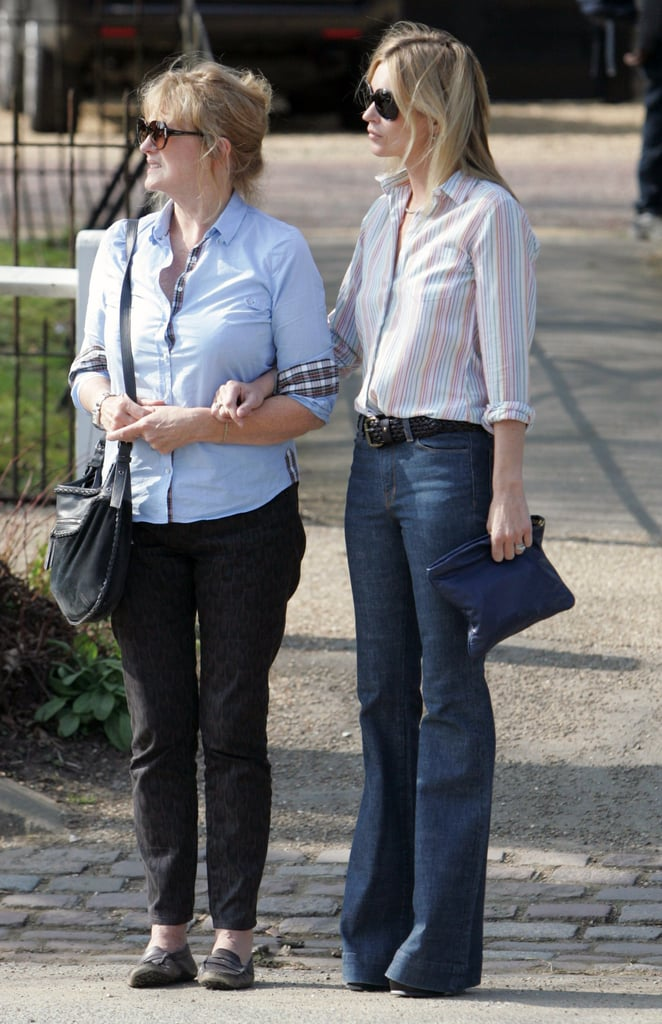 Kate Moss out in London with her mother Linda.