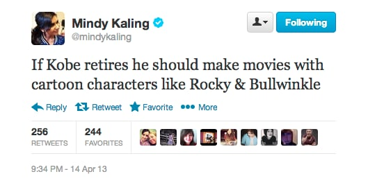 Mindy Kaling hopes Kobe will make a modern-day Space Jam.