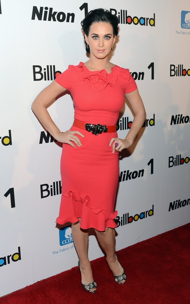 Katy Perry posed in a bright red dress in NYC.