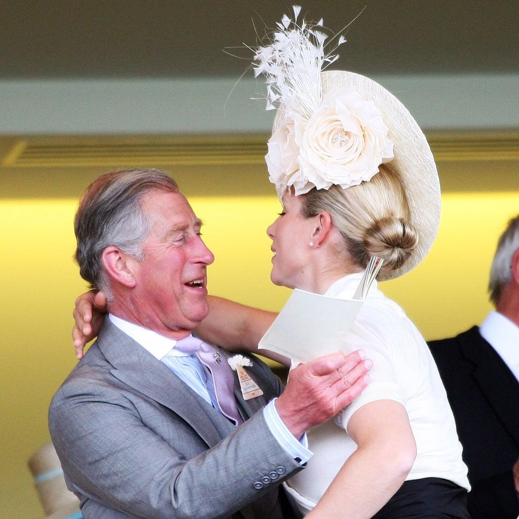 Zara gave her uncle Charles a hug at the 2009 Royal Ascot.