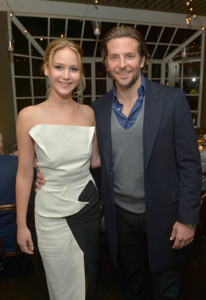 Silver Linings Playbook co-stars Jennifer Lawrence and Bradley Cooper posed together at a pre-Oscars celebration of their film on February 20.