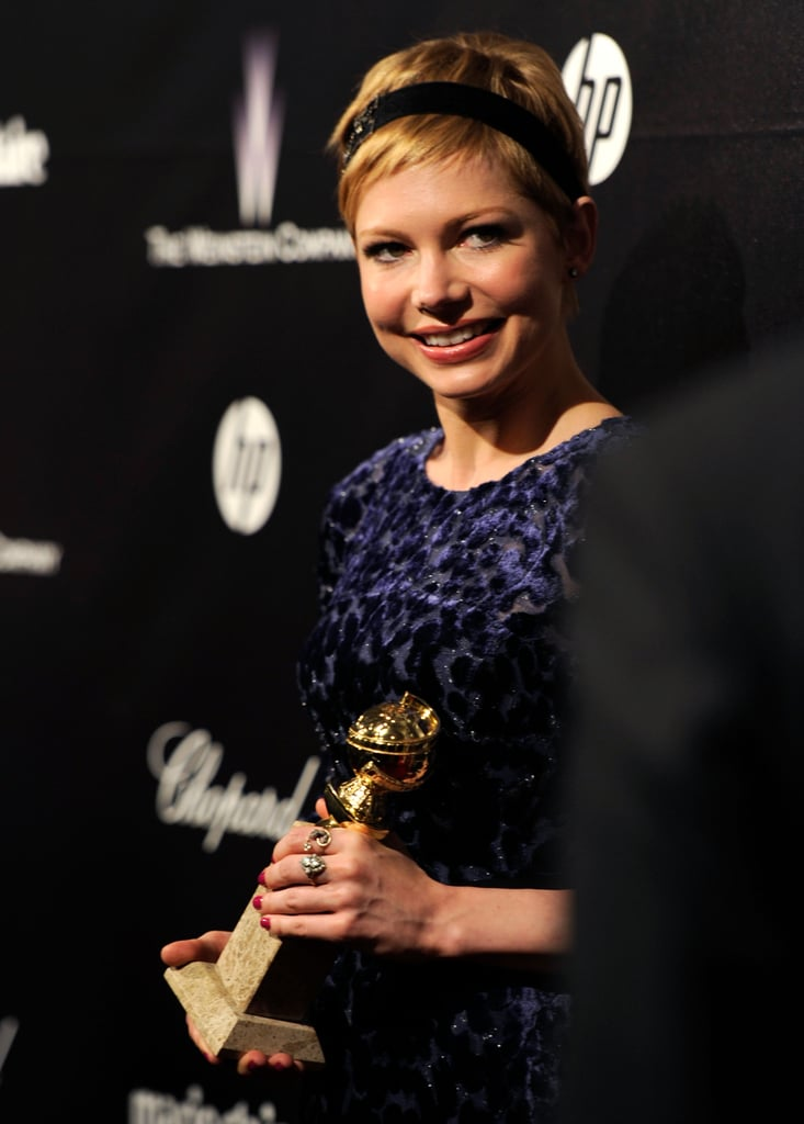 Michelle Williams brought her Golden Globe to the after parties.
