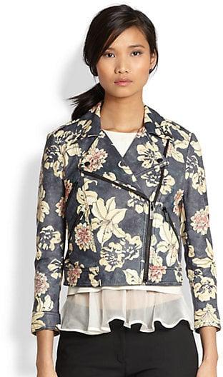 Elizabeth and James Floral-Print Leather Jacket