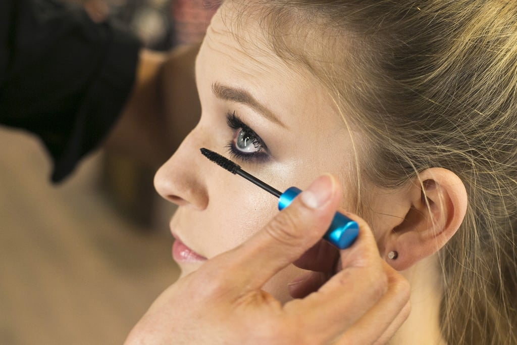 """""""With the smoky look, you can never have too much mascara,"""" Jennings says. He recommends applying generous coats of mascara to both the upper and lower lashes. """"Since we have all this lash and color on top, you get a nice balance of the shadow wrapped around the face, and the bottom lashes get enhanced."""""""