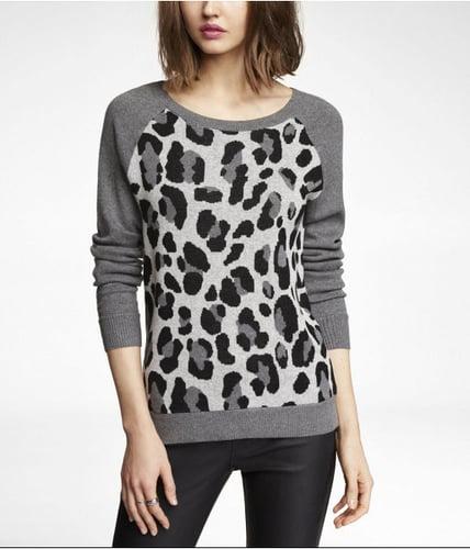 Raglan Sleeve Leopard Jacquard Sweater
