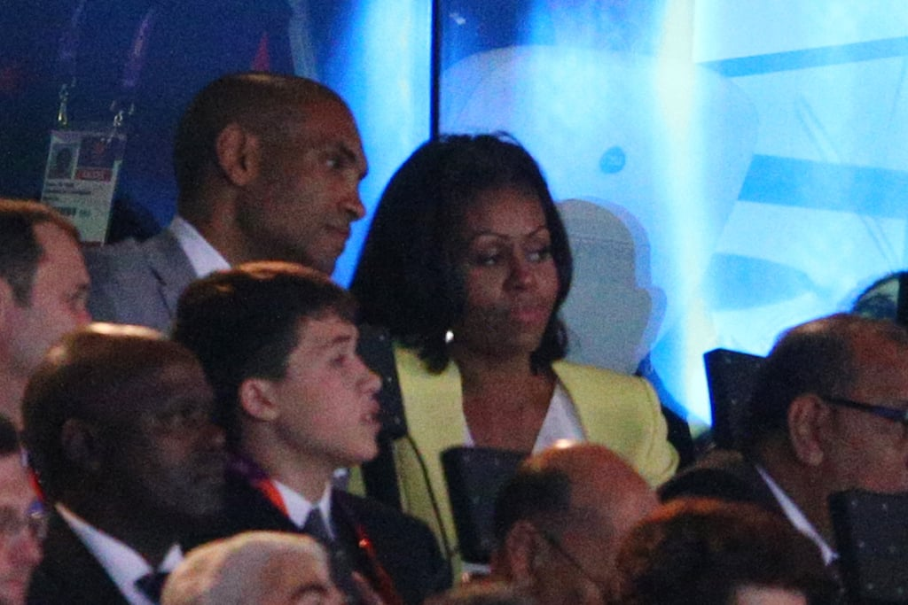 We spotted the first lady in a lime-green blazer and white blouse at the Olympics' opening ceremony.