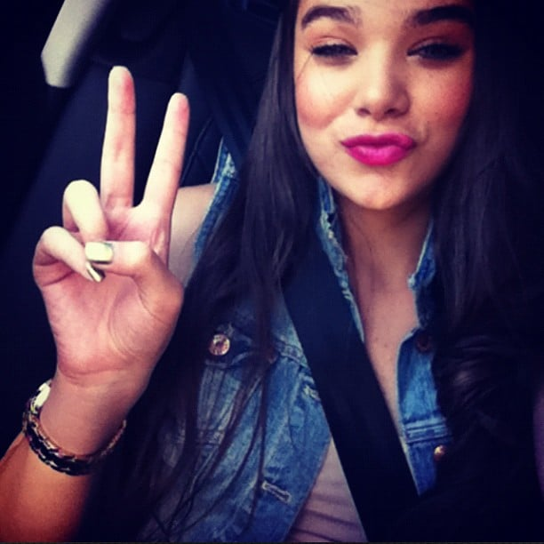 Hailee Steinfeld flashed a peace sign while on her way to work. Source: Instagram user haileesteinfeld