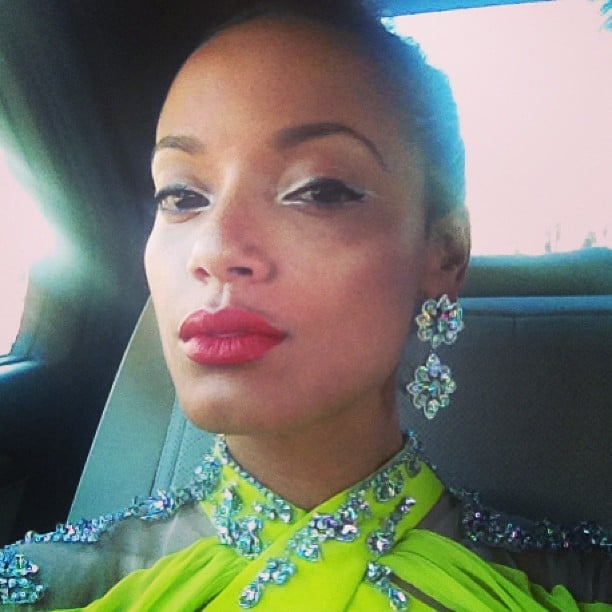 Selita Ebanks's diamond earrings perfectly matched her embellished dress. Source: Instagram user selitaebanks