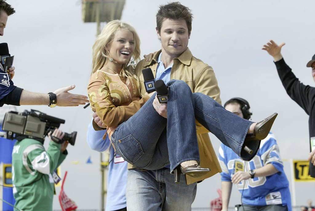 Nick Lachey and Jessica Simpson joked around before the game in 2004.