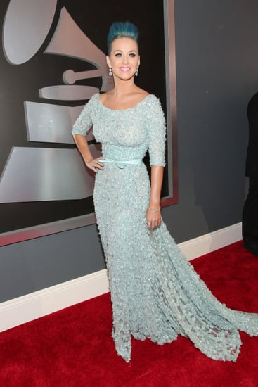 Katy Perry paired a blue Elie Saab gown with her hair.