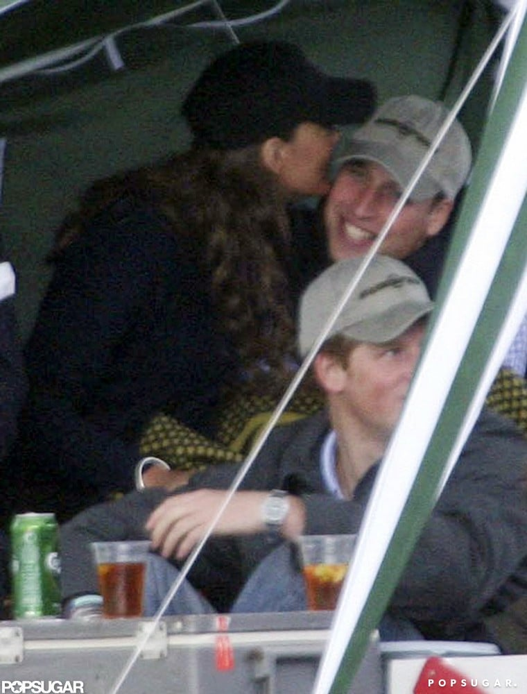 In June 2008, Kate Middleton snuck a kiss during Prince William's birthday party at the Beaufort Polo Club in Gloucestershire, England.