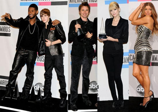 Justin Bieber, Jessica Alba, Usher, Taylor Swift, Michael Buble at the 2010 American Music Awards Press Room