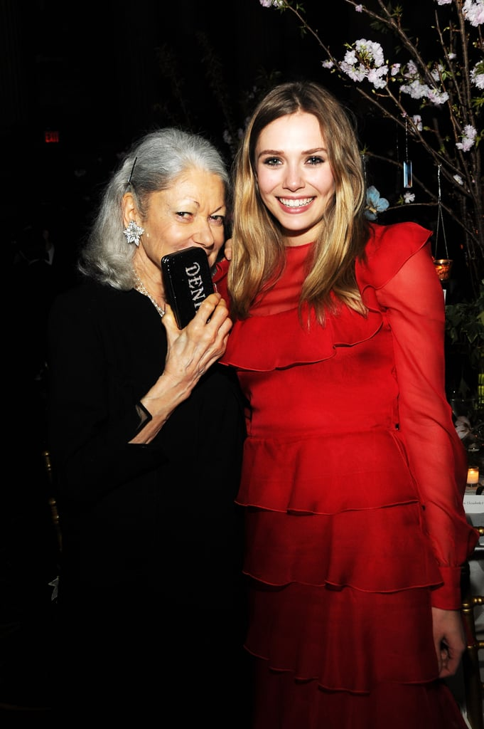 Elizabeth Olsen had a giggle with Denise Hale at the Grand Chefs Dinner.