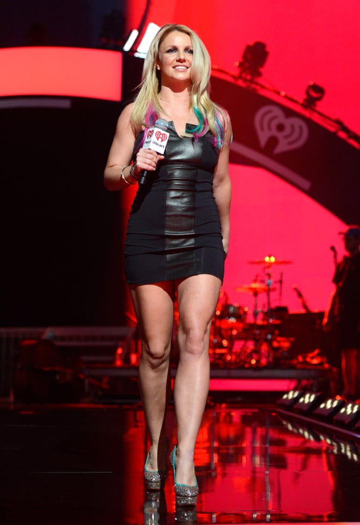 Britney Spears wore a tight black mini during an onstage appearance at the iHeartRadio Music Festival in September 2012.