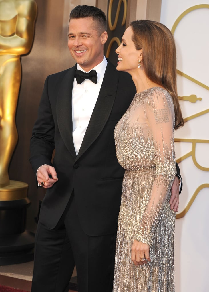 Angelina Jolie gave Brad Pitt an adoring look on the Oscars red carpet.