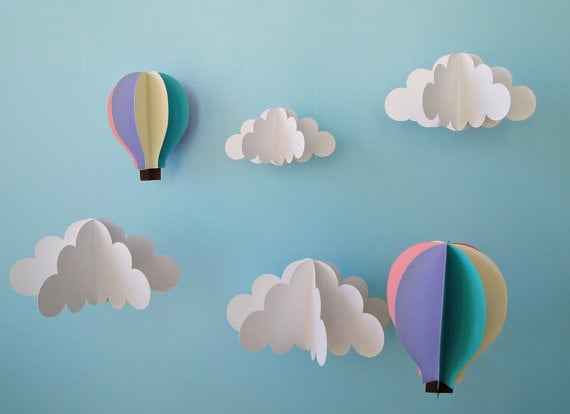 Gosh and Golly Hanging 3D Clouds and Hot Air Balloons ($55)