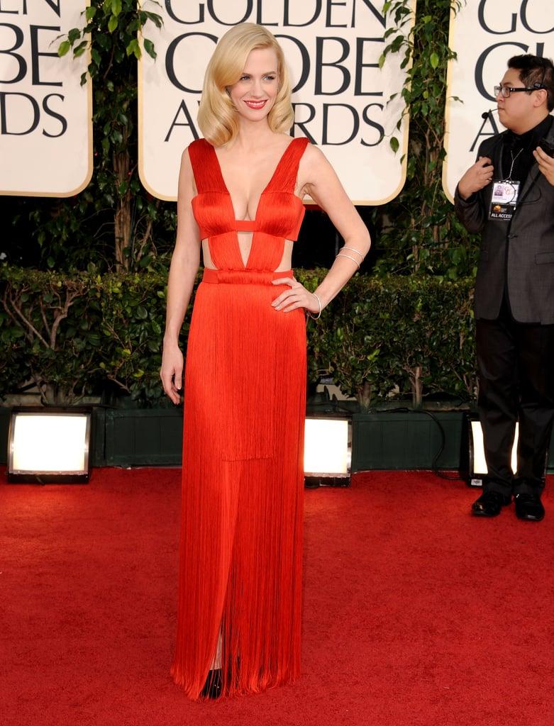 January Jones Shows Skin in Her Bright Red Versace!