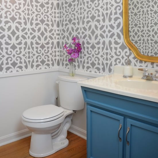 Bathroom Makeover With Wall Stencils
