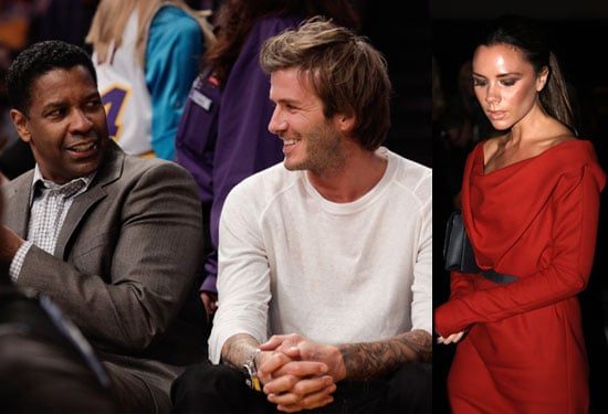 Pictures of David Beckham and Denzel Washington at the Lakers and Victoria Beckham at Women Conference