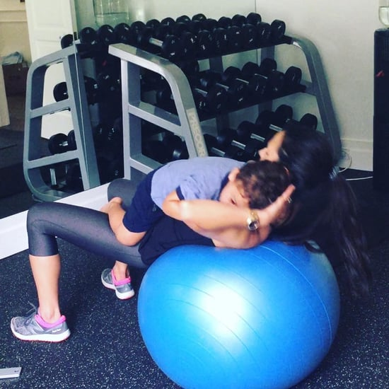Jordana Brewster Working Out With Her Son, Julian