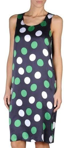 Dress In Silk Satin With Polka Dot Print