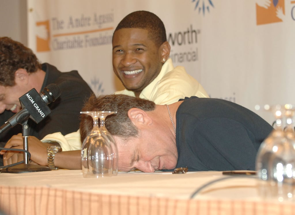 Usher couldn't help but crack up at Robin during a press conference for the Andre Agassi Charitable Foundation in October 2005.