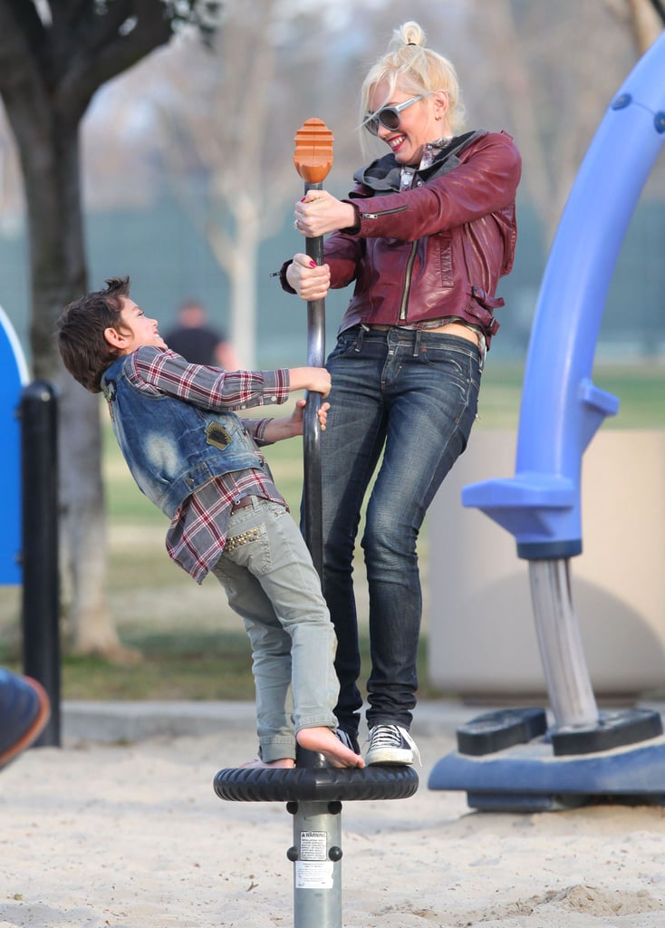 Gwen Stefani hit the playground with Kingston Rossdale.