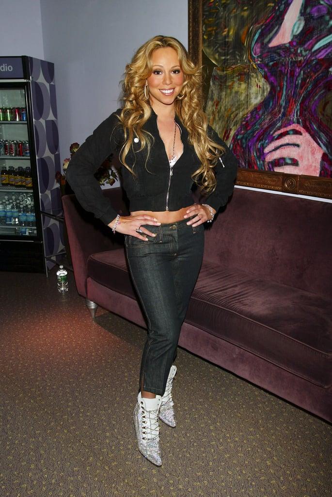 Mariah Carey struck a pose backstage at MTV Studios in 2003.