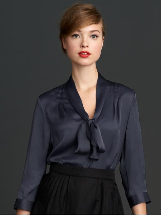 Pair this bow blouse with a maxiskirt and flat boots for a (stylish) trip to the farmers market.  Mad Men Collection Tie Neck Top ($90)