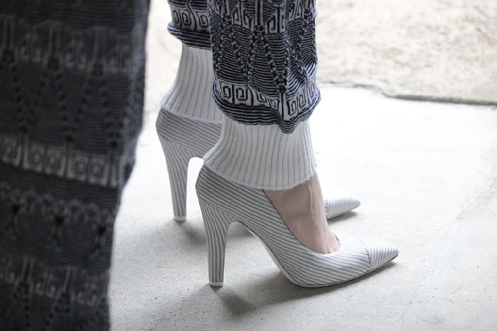Classic heels got updated for Resort 2014 with a thicker heel and subtle stripes. Source: Chanel