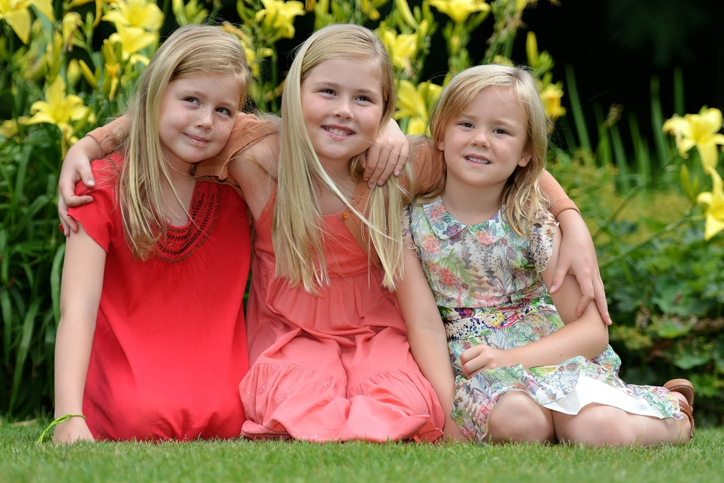 Crown Princess Catharina-Amalia posed with her sisters, Princess Alexia and Princess Ariane, on either side.