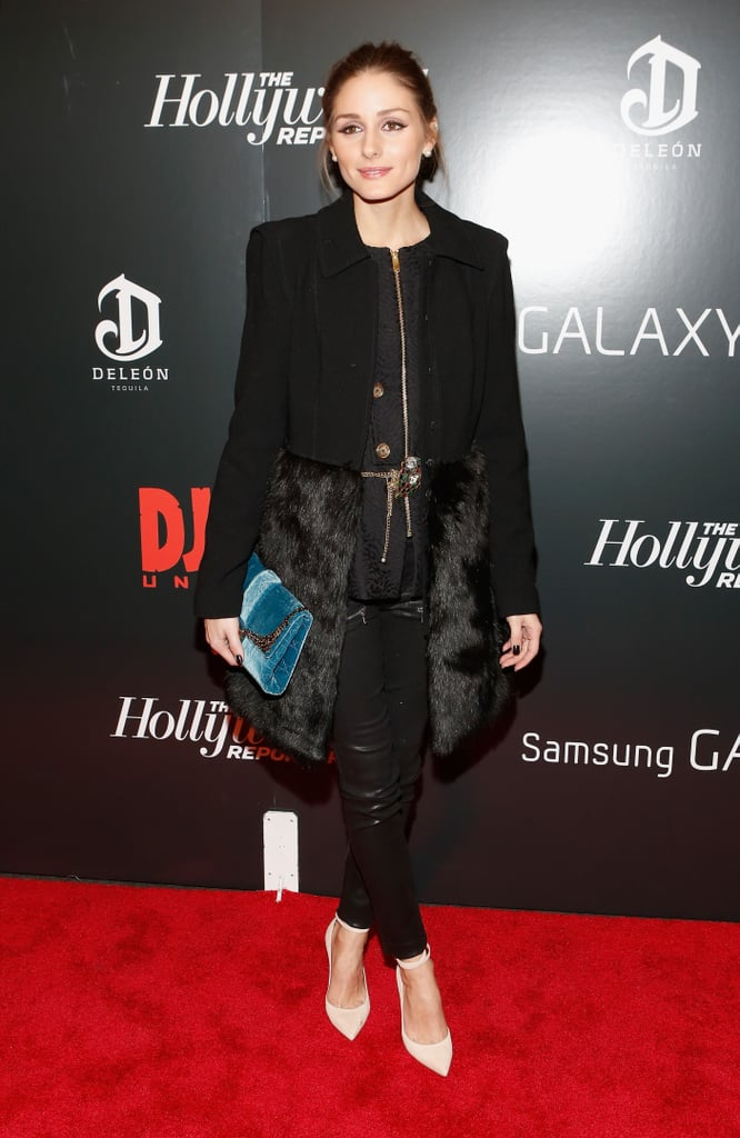 Olivia Palermo worked her styling magic on a fur-trimmed coat, ankle-strap heels, and leather pants while out in NYC.