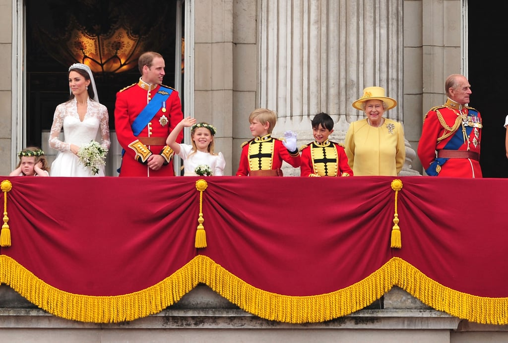 Queen Elizabeth II and Prince Philip greeted the crowd alongside newlyweds Prince William and Princess Catherine on April 29, 2011.