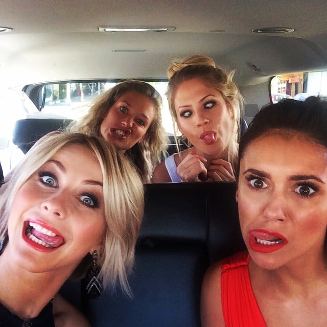 Julianne Hough and Nina Dobrev made funny faces in the car for a selfie. Source: Instagram user juleshough
