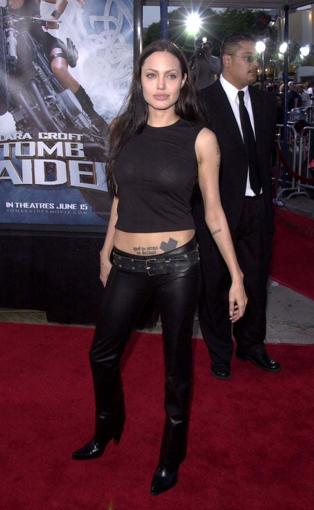 For the 2001 Tomb Raider premiere, Angelina looked tough wearing leather.