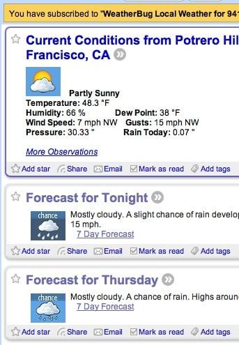 Geek Tip: Get Weather Updates on Your RSS Reader