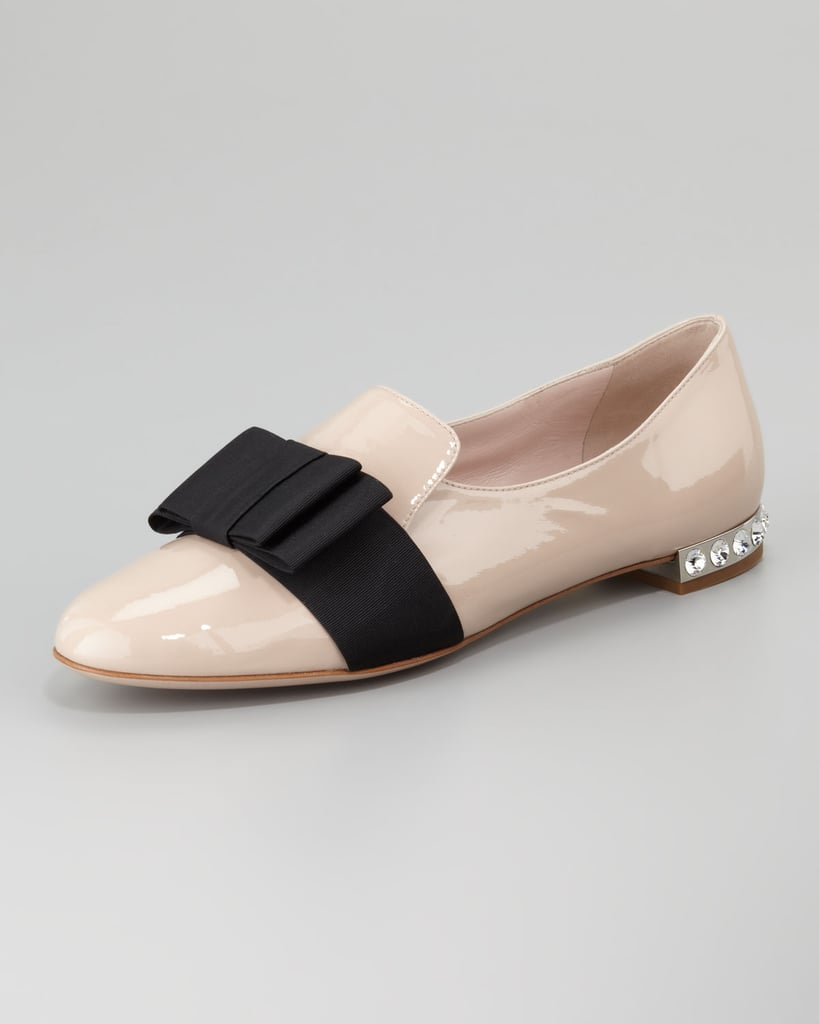 We love these ultra-girlie Miu Miu Patent Leather Loafers ($650) — the grosgrain ribbon and tiny jeweled heel are just too sweet for words.