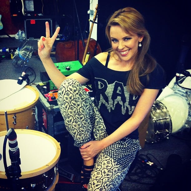 Kylie Minogue posted a photo while rehearsing with her band. Source: Twitter user kylieminogue