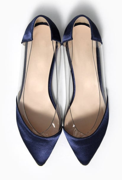 Satin, PVC, and a petite steel tip make a very stylish trio on these Modern Citizen flats ($79).